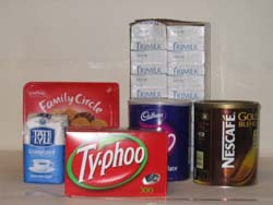 large box tea bags,large tin nescafe coffee,large tin nescafe decafe coffee,large tin cadburys drinking chocolate,sugar,tray 500ml long life milk 12 cartons,large box biscuits,cutlery,plates,dishes,mugs,vacum pump flasks,water,gas,cleaning products